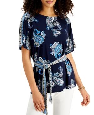 Paisley-Print Flutter-Sleeve Top