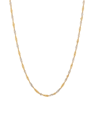 """Polished Diamond Cut 18"""" Solid Singapore Chain in 10K Yellow Gold"""