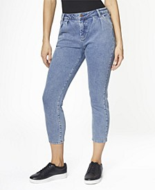 Juniors' High Rise Pleated MOM Jeans
