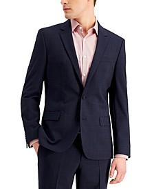 Men's Slim-Fit Superflex Stretch Dark Blue Micro-Plaid Wool Suit Jacket