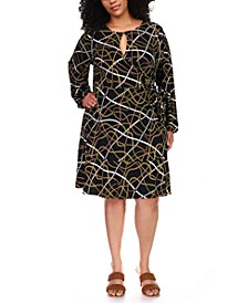 Plus Size Chain-Print Faux-Wrap Dress