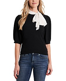 Puff-Sleeve Bow-Neck Top