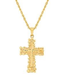 "Polished Diamond Cut Cross 22"" Pendant Necklace in 14K Yellow Gold"