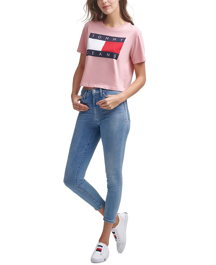 Tommy Jeans - Logo-Print Cropped Cotton T-Shirt