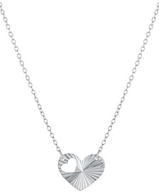 "Cut-Out Heart Pendant Necklace in Sterling Silver, 16"" + 2"" extender, Created for Macy's"