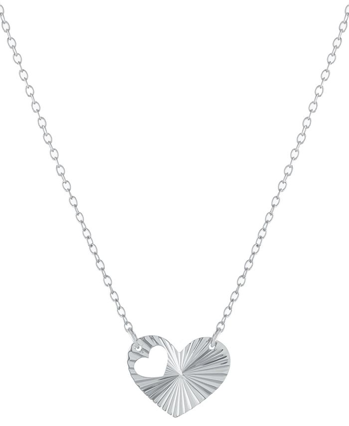 """Giani Bernini - Cut-Out Heart Pendant Necklace in Sterling Silver, 16"""" + 2"""" extender"""