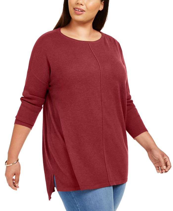 Style & Co - Plus Size Seam-Front Tunic Sweater