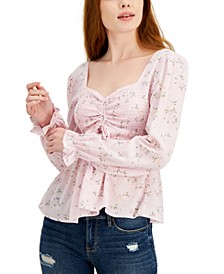Juniors' Ruched Front Peplum Top