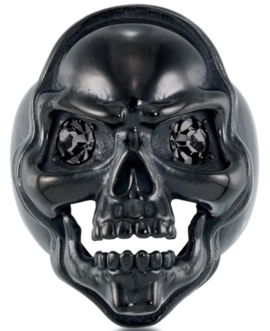 Men's Cubic Zirconia Skull Ring in Black Ion-Plated Stainless Steel