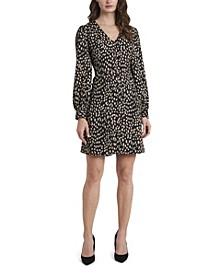 Petite Long Sleeve Animal Print V-Neck Dress