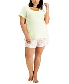 Plus Size Cotton Henley & Shorts Pajama Set, Created for Macy's