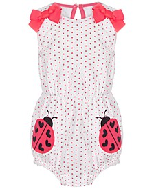 Baby Girls Ladybug Bow Cotton Romper, Created for Macy's