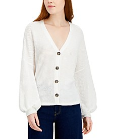 Juniors' Blouson-Sleeve Cardigan