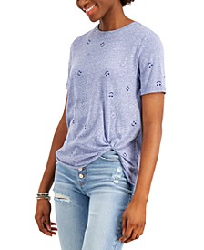 Juniors' Side-Knot Smiley-Print T-Shirt