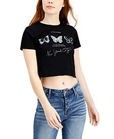 Juniors' NYC Butterfly-Graphic Cropped T-Shirt