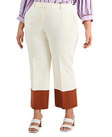 Plus Size Straight-Leg Colorblocked Pants, Created for Macy's