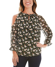 Juniors' Floral Cold Shoulder Blouse
