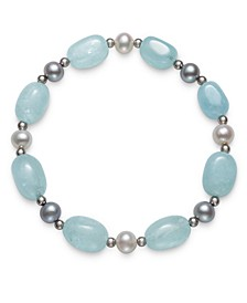 Milky Aquamarine and Cultured Freshwater Pearl (6-7mm) Stretch Bracelet in Sterling Silver
