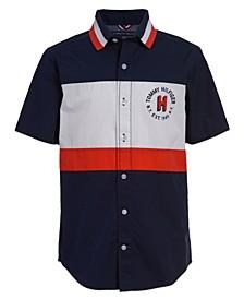 Little Boys Color Block Poplin Short Sleeve Woven Shirt