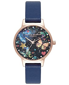 Women's Night Garden Navy Leather Strap Watch 30mm