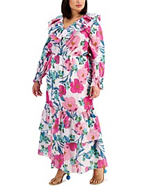 INC Plus Size Floral-Print Ruffled Maxi Dress, Created for Macy's