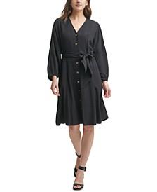 Gauze V-Neck A-Line Dress