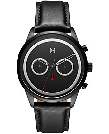 Men's Chronograph Powerlane Black Leather Strap Watch 43mm