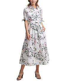 Petite Cotton Floral-Print Maxi Shirtdress