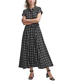 Gauze Windowpane-Print Shirtdress