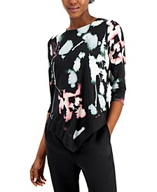 Printed Point-Hem 3/4-Sleeve Top, Created for Macy's