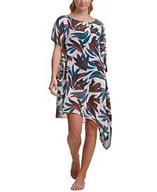 Printed Asymmetrical Kaftan Cover-Up Dress