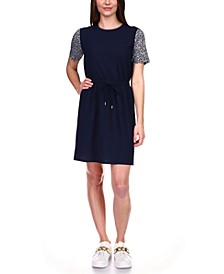 Logo-Print-Sleeves Drawstring-Waist Dress, Regular & Petite