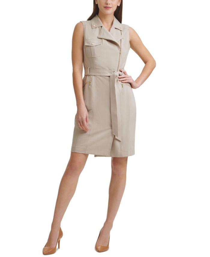 Calvin Klein Petite Moto-Style Trench Dress & Reviews - Dresses - Petites - Macy's