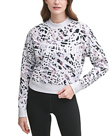 Animal-Print Active Fleece Sweatshirt