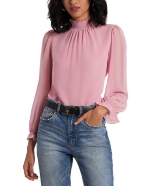 1.state SMOCKED MOCK-NECK TOP