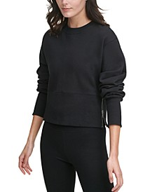 Sport Cotton Side-Zip Cropped Top