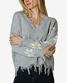 Juniors' Daisy Destructed Sweater