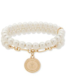 Gold-Tone Crest & Imitation Pearl Beaded Double-Row Stretch Bracelet