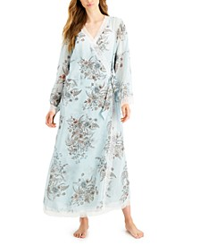 INC Lace-Trim Chiffon Wrap Robe, Created for Macy's