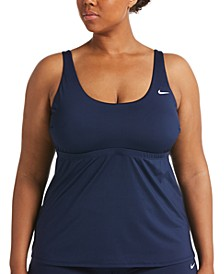 Plus Size Solid Essential Scoop-Neck Tankini Top
