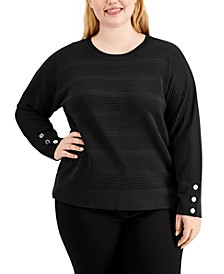Plus Size Textured Dolman-Sleeve Sweater