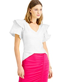 INC Petite Cotton Ruffled-Shoulder Top, Created for Macy's