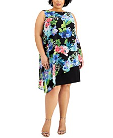 Plus Size Floral-Print Chiffon Popover Dress