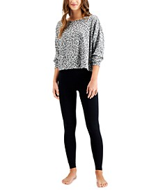 On Repeat Super Soft Crew Leopard-Print Sleep Top & Solid Leggings, Created for Macy's