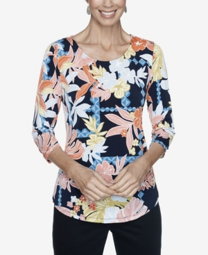 Ruby Rd. Tops WOMEN'S PLUS SIZE KNIT FLORAL PUFF TOP