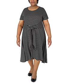 Plus Size Striped Tie-Waist Fit & Flare Dress
