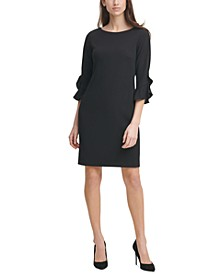 Scuba Crepe 3/4-Ruffle-Sleeve Sheath Dress