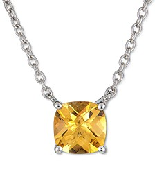 """Citrine Solitaire Pendant Necklace (2 ct. t.w.) in Sterling Silver, 16"""" + 2"""" extender"""