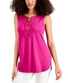Solid Lace-Up Tank Top, Created for Macy's