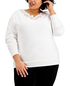 Trendy Plus Size Lace-Trim V-Neck Top